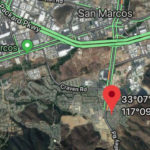 Map showing location of San Marcos fire