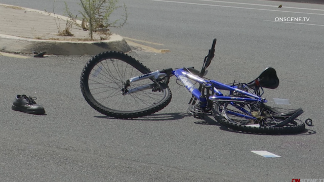 The scene of a bike accident.