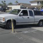 A truck that was rammed through a chain barricade.