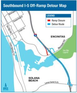 Map of I-5 detour area in Encinitas.