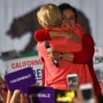 Sen. Elizabeth Warren gets and gives a hug to endorser Lorena Gonzalez.