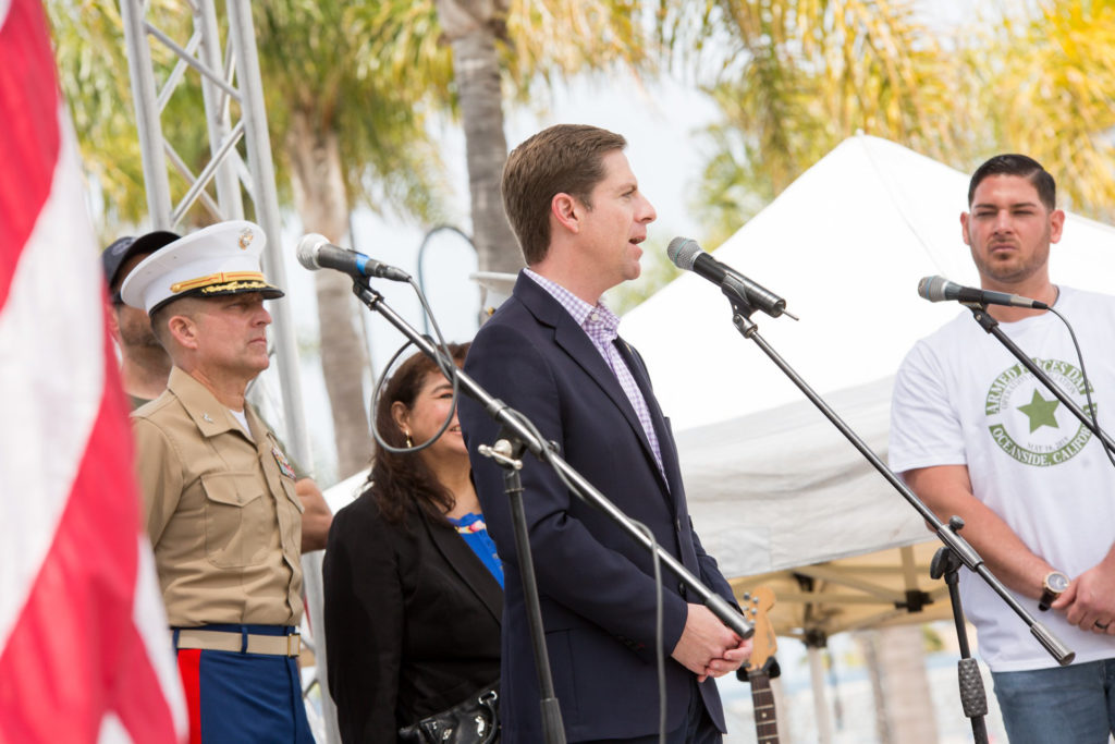 Democratic Rep. Mike Levin speaks during an Armed Forces Day event in Oceanside on May 19, 2019. (Courtesy of Rep. Mike Levin)