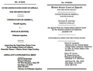 Supplemental briefs filed by Duncan Hunter and government prosecutors ahead of Dec. 12 hearing before 9th Circuit appeals court.