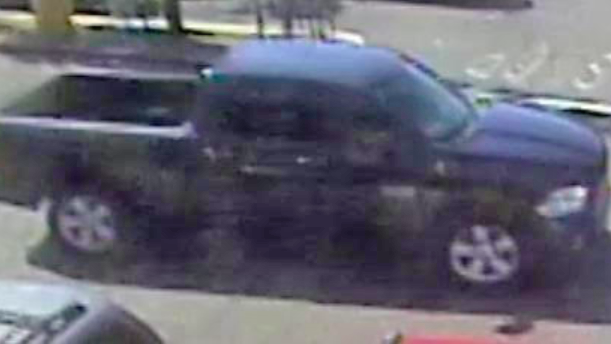 Surveillance photo of truck used by suspected Alpine bank robber.