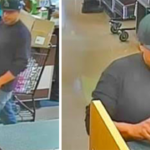 Surveillance photo of suspected bank robber in June of bank inside Alpine Albertson's.