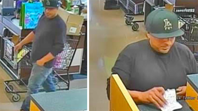 Surveillance photo of suspected bank robber in June of bank inside Alpine Albertson's.
