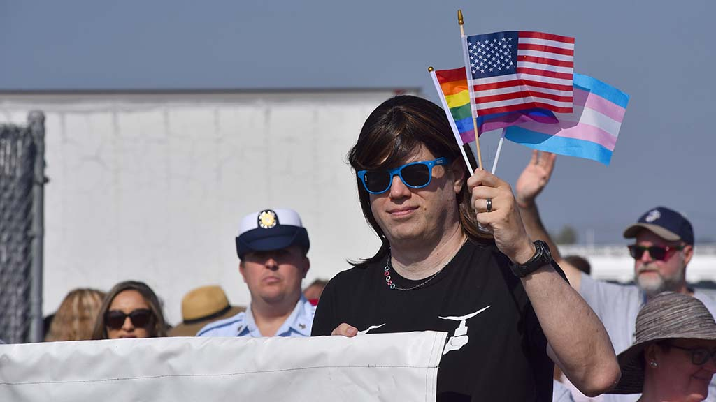 LGBT veteran military members marched in the parade that drew thousands of spectators.