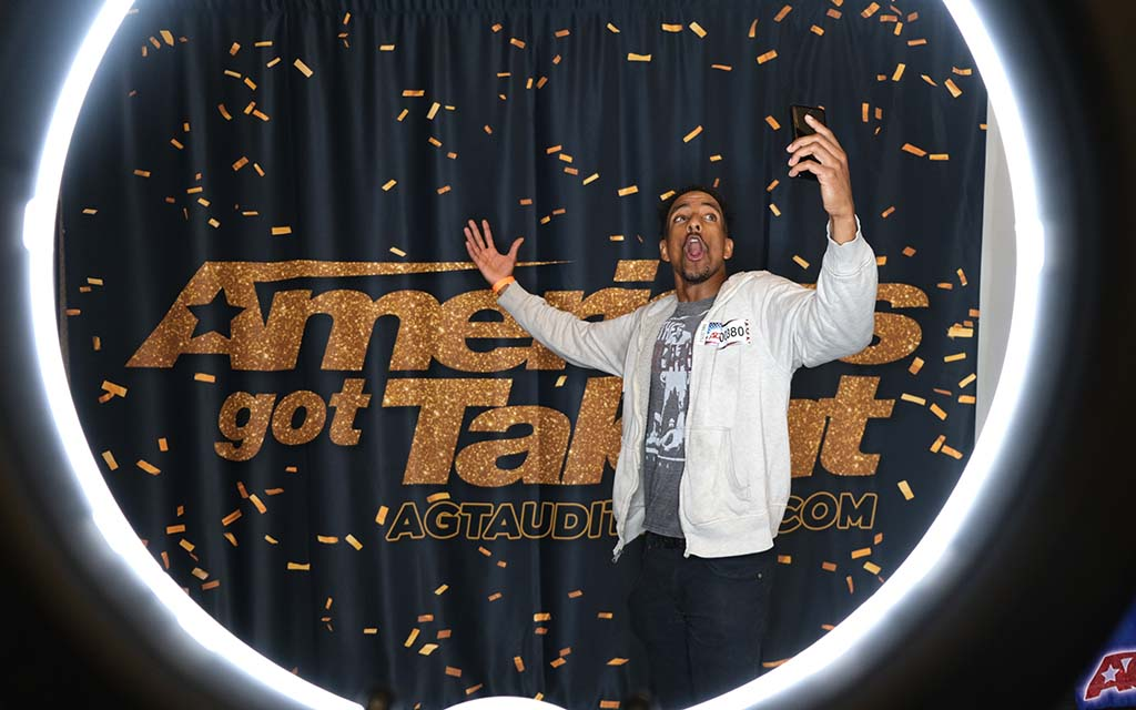 "Antoine Baynes sampled his impersonations of Bill Cosby and Barack Obama in ""AGT"" holding room at the San Diego Convention Center."