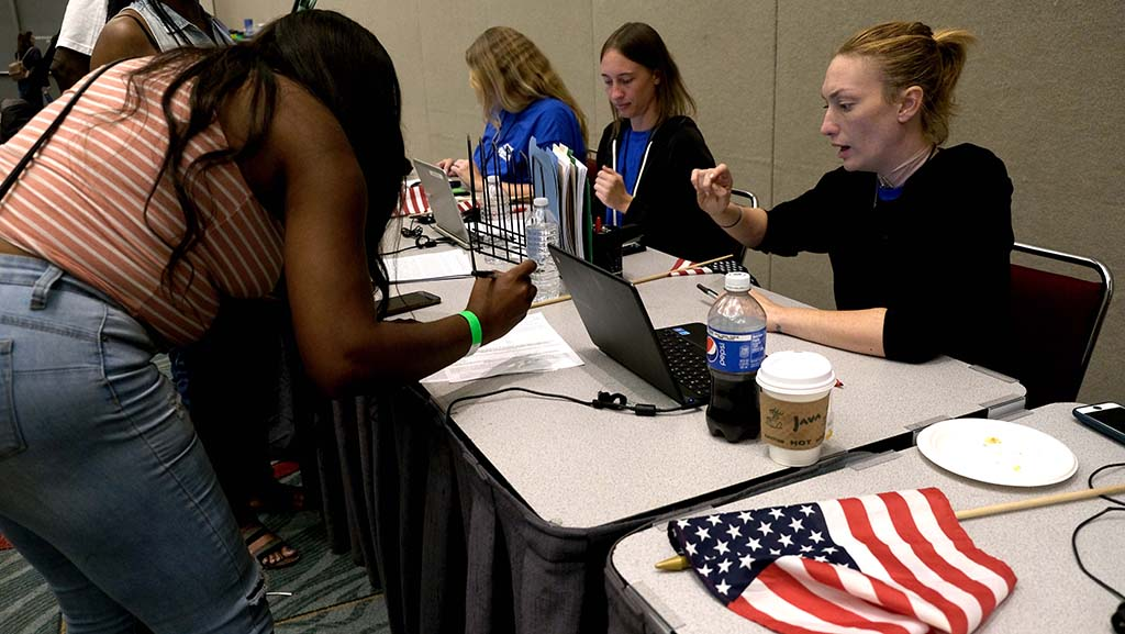 A steady stream of people registered to audition for America's Got Talent at the San Diego Convention Center. Photo by Chris Stone