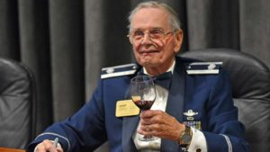 Retired Lt. Col. David Hamilton, 97, received the only standing ovation of the night.