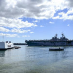USS Boxer passes USS Arizona memorial