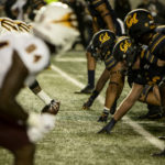 Cal Berkeley football players line up against ASU in September