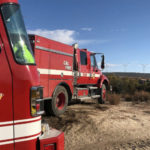 Cal Fire trucks at the Crestwood Fire area