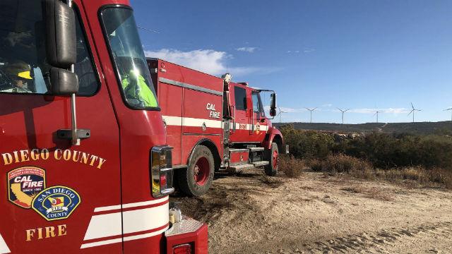 Η φωτιά Καίει φοινικόδασος στο Δημοφιλές Borrego Springs Πεζοπορία