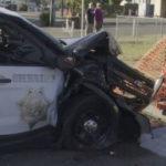 Damaged sheriff's cruiser