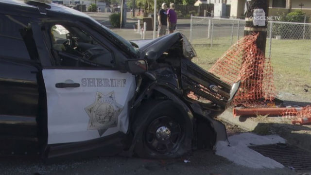 Damaged sheriff's cruiser