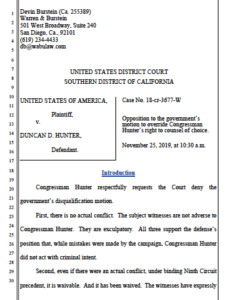 Hunter motion to let Paul Pfingst stay as his trial attorney. (PDF)