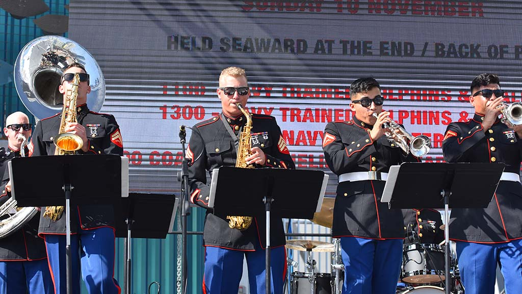 Marines entertain visitors on the Broadway Pier for the Fleet Week weekend.