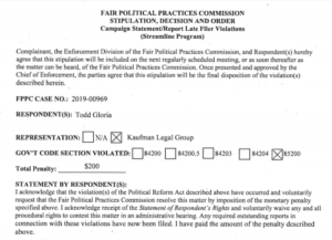 Unsigned version of Todd Gloria's stipulation with FPPC.