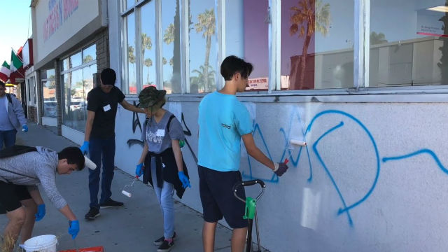 Graffiti removal on Broadway in Chula Vista