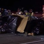 Wreckage of vehicle on I-15