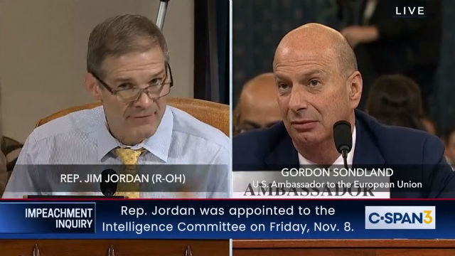 Republican Rep. Jim Jordan questions Ambassador Gordon Sondland