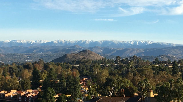 Snow in the mountains north of San Diego
