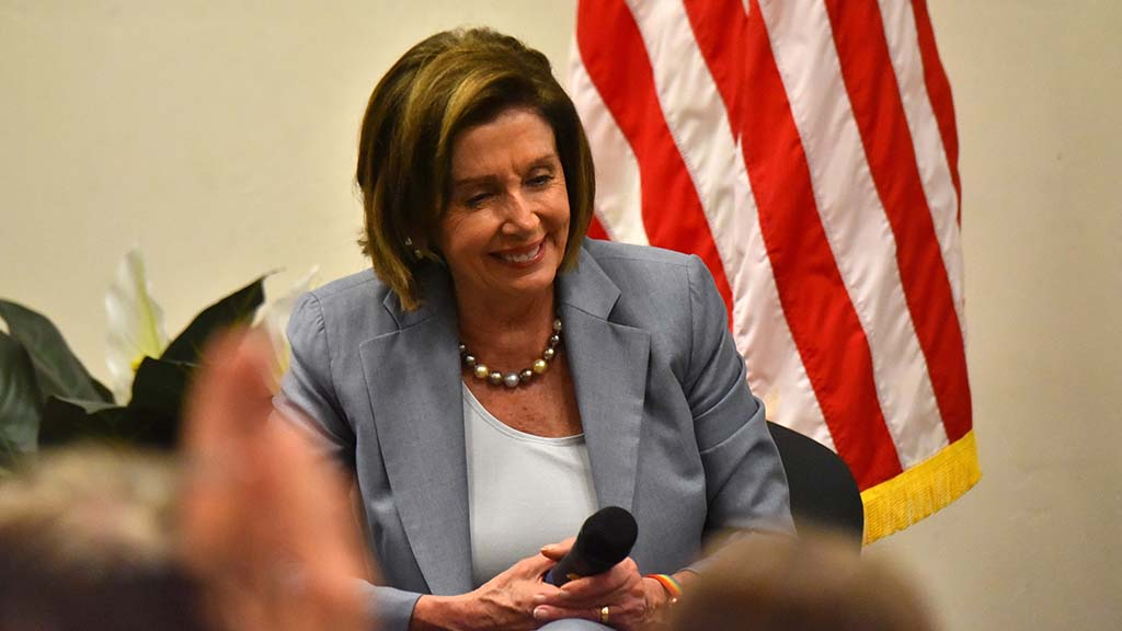 """Nancy Pelosi reacts to a comment in one of the series of """"Speaker in the House"""" events she's held across the country."""