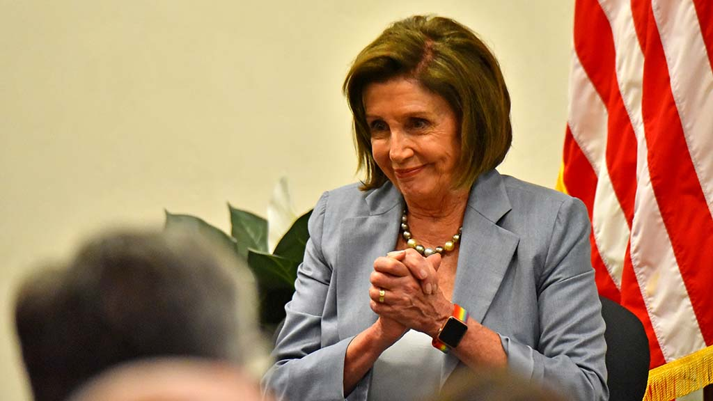 Nancy Pelosi listens as local community leaders are acknowledged in Oceanside, including Solana Beach, Encinitas and Vista council members.