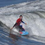 Dave Hubbard, who has won eight world titles in bodyboarding, pulled ahead of his competitors in his dropknee heat at the National Bodyboarding Festival.
