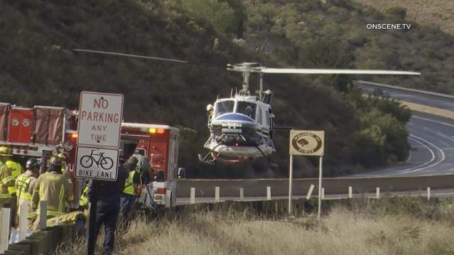 Rescue helicopter lifts off