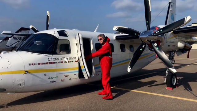 Robert DeLaurentis with his aircraft