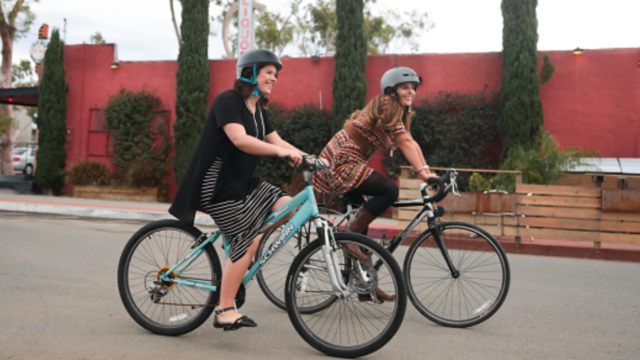 Two bicyclists.