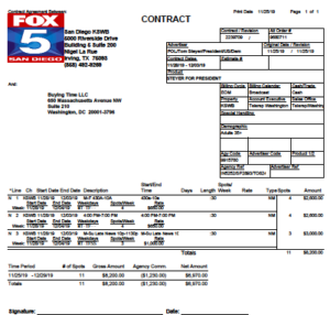 Tom Steyer contract with KSWB (Fox 5) through Dec. 4 (