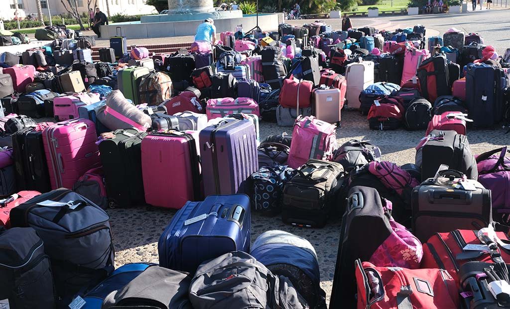 Suitcases awaiting their walker owners sit in Waterfront Park by the Susan G. Komen closing ceremonies.