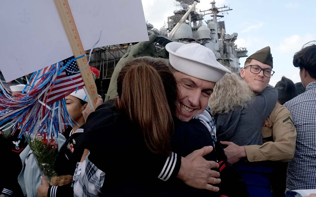 More than 1,000 sailors and Marines aboard the USS Boxer were welcomed home the day before Thanksgiving.