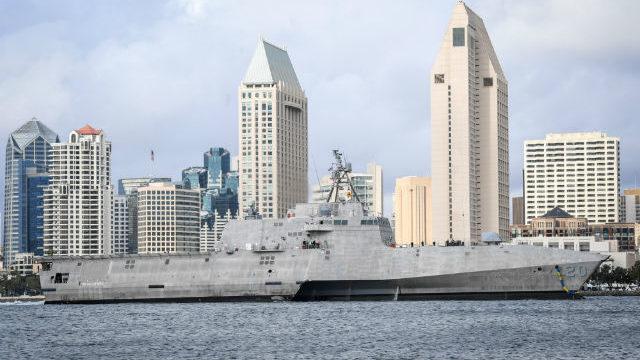 USS Cincinnati passes downtown San Diego skyline