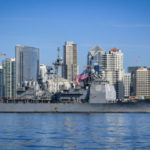 USS Lake Erie passes downtown San Diego
