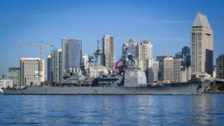 USS Lake Erie passes downtown San Diego