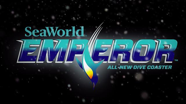 An emperor penguin is featured in logo of SeaWorld Emperor roller coaster.