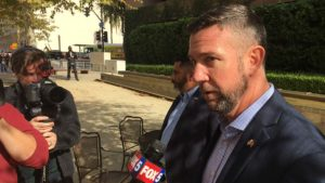 Outside federal courthouse where his hearing was delayed, Rep. Duncan Hunter discusses forced resignation of Navy Secretary Richard Spencer in the Navy SEAL case.