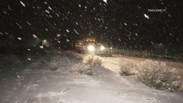Caltrans snowplow on I-15