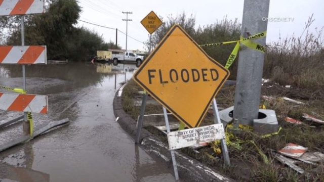 Flooded roadway in Otay Mesa