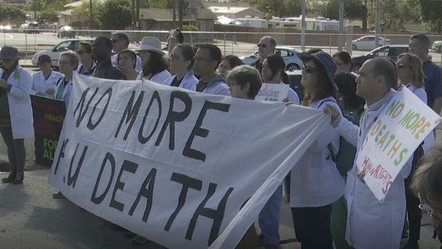 Protesters in San Ysidro