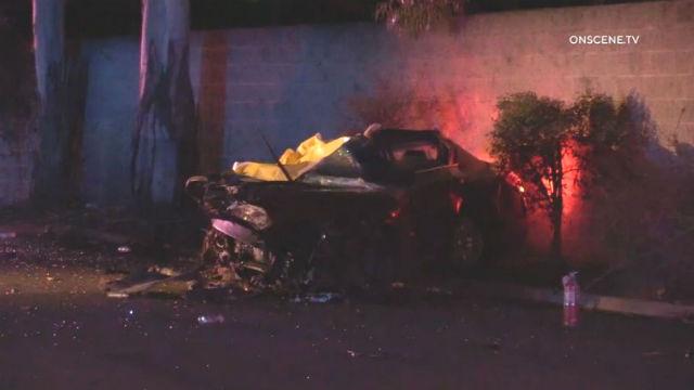 Wreckage of Nissan in La Mesa