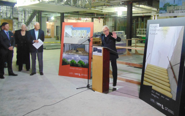 Rod Sidner speaks during Mingei design unveiling