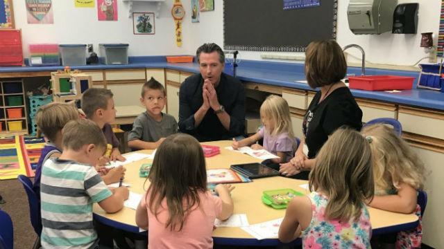 Gov. Gavin Newsom visits elementary school