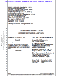 Herring Networks' response to Rachel Maddow anti-SLAPP motion.