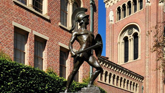 Trojan statue at USC