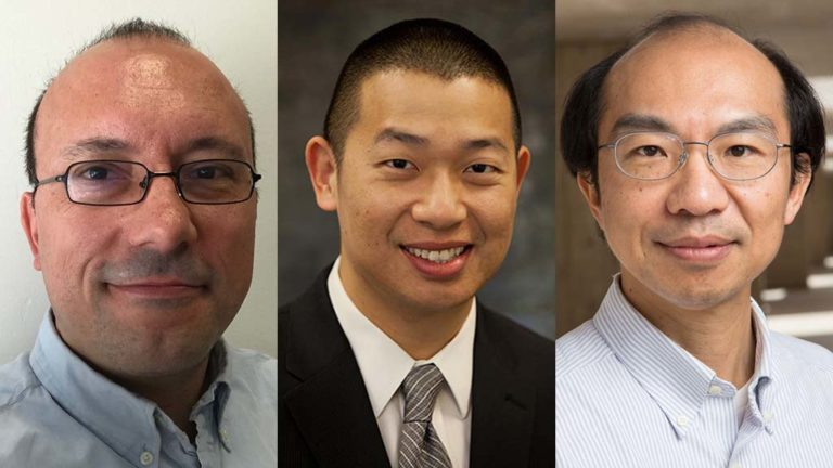 "UCSD professors winning  Defense University Research Instrumentation Program grants from the Pentagon are (from left) Jorge Cortés, Kenneth ""Ken"" Loh and Yu-Hwa Lo."